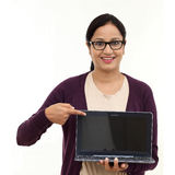 Young happy Woman holding a laptop Stock Photography