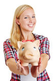 Young happy woman holding piggy bank Stock Photography