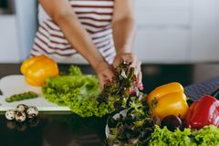 A young woman spends time at home, in the kitchen and in the roo. The young happy woman holding vegetables in hands in kitchen with laptop on the table Royalty Free Stock Images