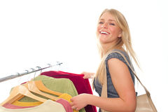 Young Happy Woman In Clothes Store Royalty Free Stock Photo