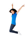 Young happy woman jumping in the air Stock Photos