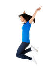 Young happy woman jumping in the air Stock Photo