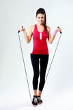 Young happy woman with jumping rope Stock Photography