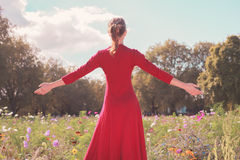 Young happy woman in a meadow Royalty Free Stock Photos