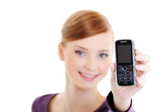 Young happy woman with mobile phone Stock Images