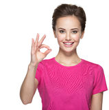 Young happy woman with ok gesture Stock Photos