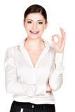Young happy woman with ok sign Stock Image