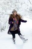 Young happy woman outdoor in winter Stock Photos