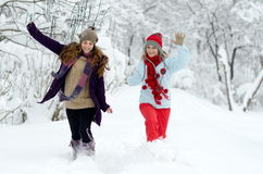 Young happy woman outdoor in winter enjoying the snow Stock Photography