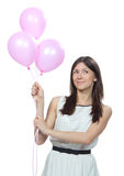 Young happy woman with pink balloons Stock Images