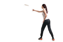 Young happy woman playing frisbee over white Stock Photo