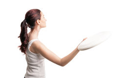 Young happy woman playing frisbee over white Stock Images