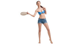 Young happy woman playing frisbee over white Royalty Free Stock Photos