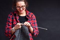 Woman pregnant knitting royalty free stock photo