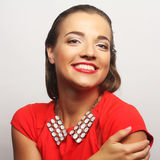 Young happy woman in red dress Royalty Free Stock Photography