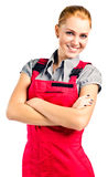 Young happy woman in red overalls Stock Photo