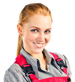 Young happy woman in red overalls Stock Photos