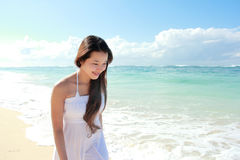 Young happy woman running on the beach Stock Photography