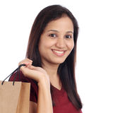 Young happy woman with shopping bag Stock Images
