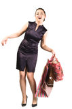 Young happy woman with shopping bags Stock Images
