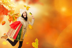 Young happy woman with shopping bags. Royalty Free Stock Photography