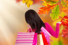 Young happy woman with shopping bags. Royalty Free Stock Photo