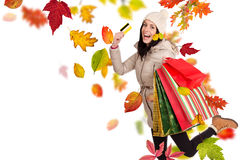Young happy woman with shopping bags. Royalty Free Stock Image