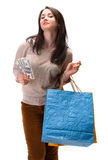 Young happy woman with shopping bags and  dollar cash money Stock Images