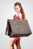 Young happy woman with shopping bags Stock Photo
