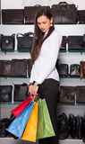 Young happy woman with shopping bags Royalty Free Stock Images