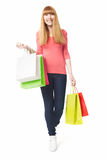 Young, happy woman with shopping bags Stock Photography