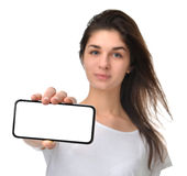Young happy woman show display of mobile cell phone with blank s Stock Photos