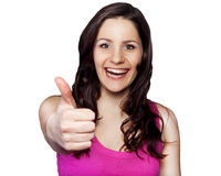 Young happy woman showing hand ok sign Royalty Free Stock Photo