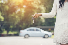 Young Happy Woman Showing The Key Of New Car royalty free stock photo