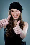 Young Happy Woman Smiling with Thumbs Up Stock Photography