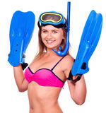 Young happy woman with snorkel equipment Stock Photos