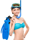 Young happy woman with snorkel equipment Stock Photo