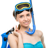 Young happy woman with snorkel equipment Stock Image