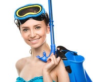 Young happy woman with snorkel equipment Royalty Free Stock Photo