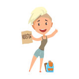 Young happy woman standing with a sign hitchhiking, travelling. Young happy woman standing with a sign hitchhiking, travelling by autostop cartoon vector Stock Image
