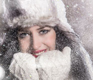 Young happy woman with stocking cap. Royalty Free Stock Photo