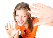 Young happy woman stretching hands to the camera Stock Image