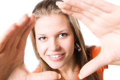 Young happy woman stretching hands to the camera Stock Photo