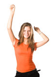 Young happy woman stretching up hands Royalty Free Stock Photography