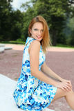Young happy  woman in summer dress Royalty Free Stock Images