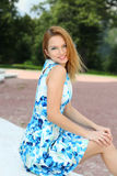 Young happy  woman in summer dress Royalty Free Stock Photos