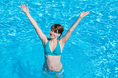 Young Happy Woman in Swimming Pool Stock Image