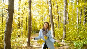 Young happy Woman Throwing Autumn Leaves stock footage