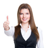 Young happy woman with thumbs up. Stock Photography