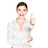 Happy woman with thumbs up sign Stock Photography